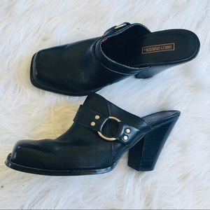 Harley Davidson Heels Black Leather Mules Clogs
